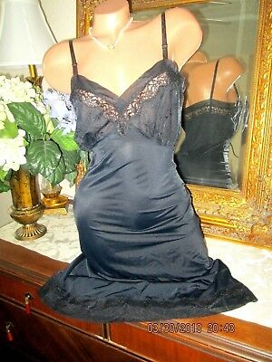 Black lace chiffon embroidery nylon full slip gown dress lingerie 34 36 bust