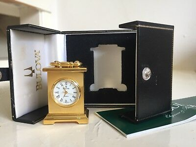 """bulova"" Miniature Brass Carriage Clock In A Presentation Case"