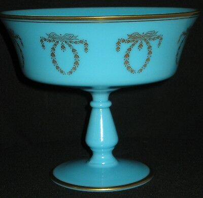ANTIQUE FRENCH POWDER BLUE OPALENE GLASS OPEN COMPOTE CENTER BOWL w/GOLD DECOR