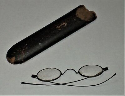 Vintage  Early Eye-Glasses Thin Wire Ear Pieces/Hard Tube Case