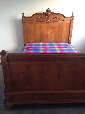 Stunning Antique French Solid Oak Bed Circa 1800's Exc Cond Made In France
