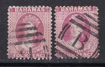 Bahamas 1882  2 x 4d rose perf 12 used