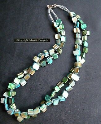"""Natural baroque abalone dyed sea shell nugget beaded necklace 19"""" 2 str FJ008"""