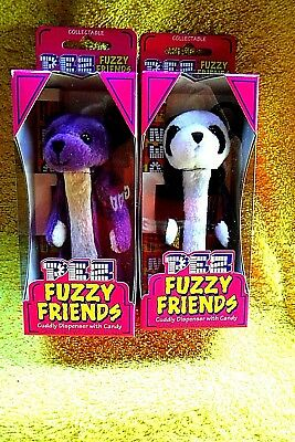 New In Pack 2 Cuddly Bear Series Gilbert & Jade Fuzzy Pez Dispensers-Retired!