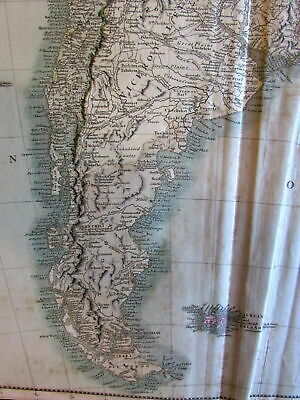 South America 1807 John Cary 2 sheet large folio antique map pair old color