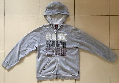 Quiksilver - Gray Full-Zip Hooded Sweater - Youth Boys Size Large L