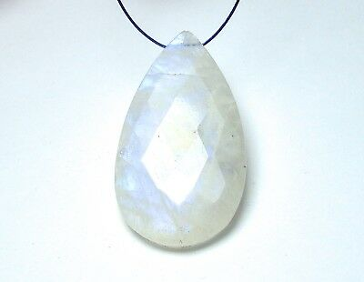 RAINBOW MOONSTONE 35mm Teardrop Pendant Bead AAA NATURAL /P4