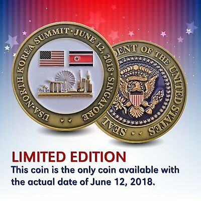 Trump Singapore Kim Jong-Un President Peace Talks Coin Limited Edition USA