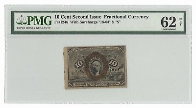 Fr#1246 10¢ 2nd Issue Fractional Currency With Surcharge 18-63 & S – PMG 62 NET