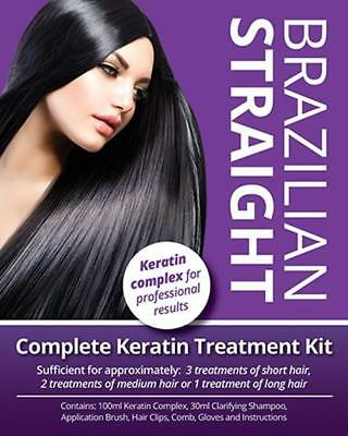 Brazilian Straight Keratin Home Use Treatment Kit, Salon Quality Hair 100Ml,