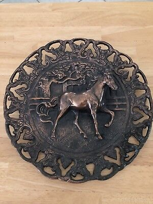 Vintage Copper Plated Round 3D Horse Raised Sculpture Wall Hanging
