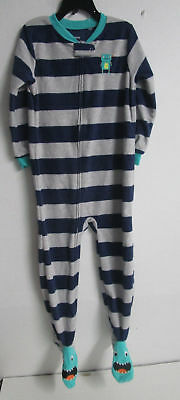 New Carters 1 Piece Fleece Zip Footed Navy/gray/green Pajamas - 5T