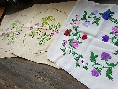 Lovely Vintage Hand Embroidered Cushion Cover Set with Flowers(3 ITEMS)