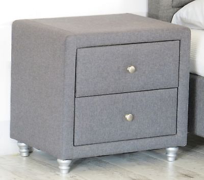 Grey Fabric Bedside 2 Drawer Cabinet Wooden Frame Night Stand Side Lamp Table