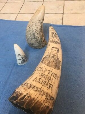 SCRIMSHAW WHALE TOOTH RESIN REPLICA Lot Of 3 Captain Asher Nautical Asian
