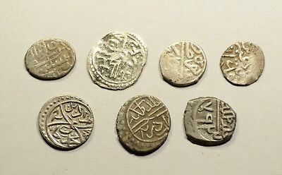 Lot Of 7 Ancient Silver Ottoman Islamic Turkey Coins