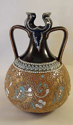 "Antique Doulton Lambeth Special Item Two Handled 5.5"" Stoneware Vase Pot c1890"