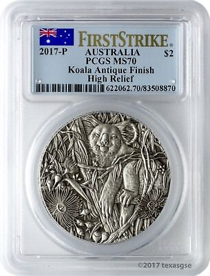 2017-P $2 Australia Koala 2oz. High Relief Antiqued Coin PCGS MS70 First Strike