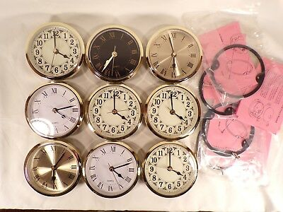 "Lot of Quartz Fit Up Insert Clock Movement 3-1/2"" Bezel Diameter Fits a 3"" Hole"