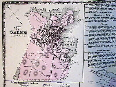 Salem downtown Essex County Mass. 1872 detailed old map owners named + directory