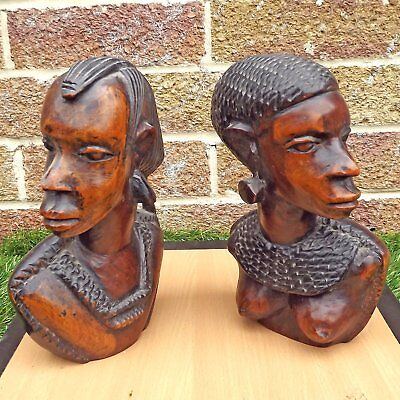 Vintage / Antique Art Deco Style Pair Quality Carved Busts / Heads / Bookends(?)