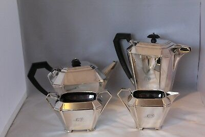 Four Piece Art Deco Boodle And Dunthorpe Liverpool Silver Plated Tea Service