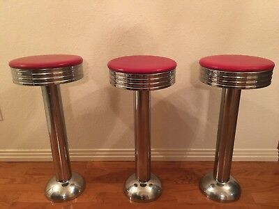 Vintage Diner Soda Fountain Counter Bar Swivel Stool---set of 3, Chrome & Red