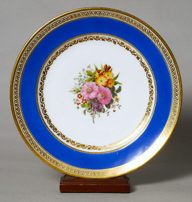 Beautiful Antique French Feuillet Porcelain Cabinet Plate, Flower Painted #2