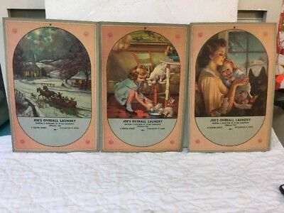3 Antique Lithograph Prints Poster Type Calendar Samples Wollaston Quincy Mass