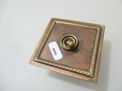 Vintage Brass Light Switch Square Plate Art Deco Antique Old England Crabtree