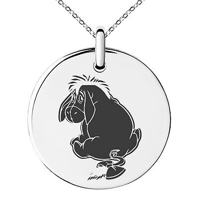 Stainless Steel Pooh Tigger Eeyore Piglet Circle Oval Rectangle Pendant Necklace