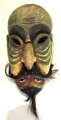 Noh Japanese Antique Theatre Hand Carved Mask w/ Hair + Teeth