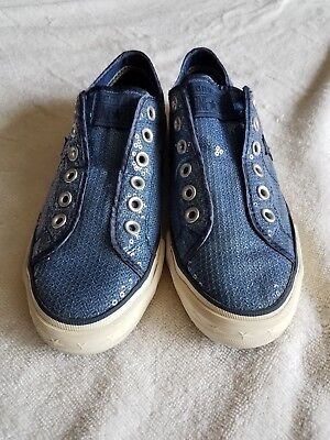 CONVERSE ONE STAR SEQUIN BLUE LOW TOP SNEAKERS, SIZE 8.5 Women's