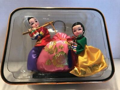 Vintage Asian Chinese Tia Dolls - Silk shiny Clothes In A Plastic Case