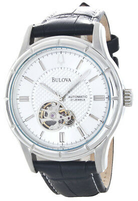 Bulova 21 Jewels Stainless Steel Silver Dial Black Leather Band Automatic Watch