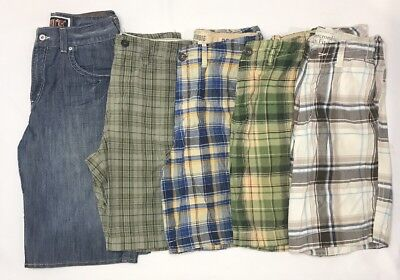 """Mens Youth Shorts Lot Of 5 Size 30"""" Waist Abercrombie, American Eagle, Levi"""