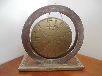 Vintage Brass Burmese Gong. Hand Crafted Wooden Surround. No Striker. 7.5 Inches