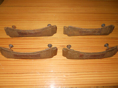 Lot of four vintage Art Deco metal drawer pulls 1920's 30's 40's