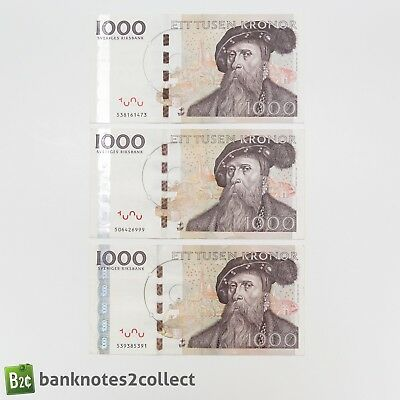 SWEDEN: 3 x 1000 Swedish Krona Banknotes (with holographic strip)