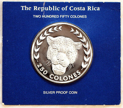 1982 Costa Rica Silver Proof 250 Colones Jaguar PROOF Coin Franklin Mint - RARE!