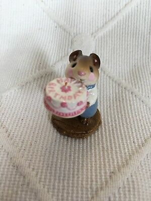 M-083 Wee Forest Folk Happy Birthday Mouse With Cake