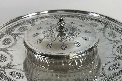 Antique Tiffany Sterling & Crystal Serving Dish