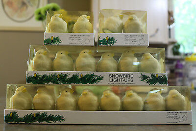Vintage Dept 56 Snow Bird Light Up Clip on ceramic Ornaments Decorations - 18
