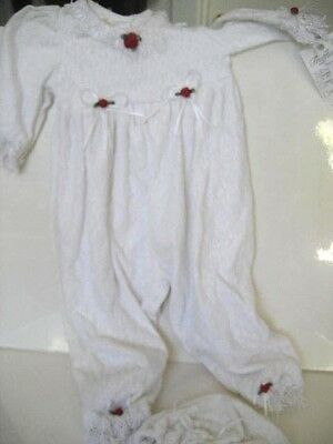 NEW 12-18 Mo VICTORIAN BABY TRUFFLES Lace Christening Jumpsuit & Cap Red Roses