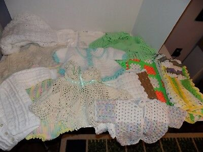 Lot of Knit Baby Clothes & Blanket-Most Handmade-Dress Sweaters Bib Caps