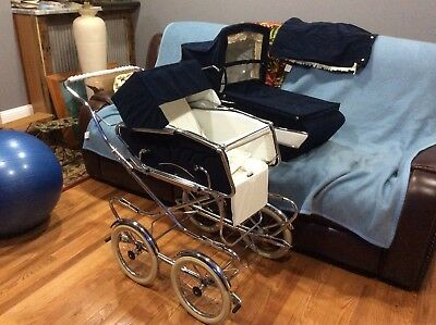 Vintage Italian Perego Baby Stroller Carriage Pram Navy Blue Made Italy AWESOME