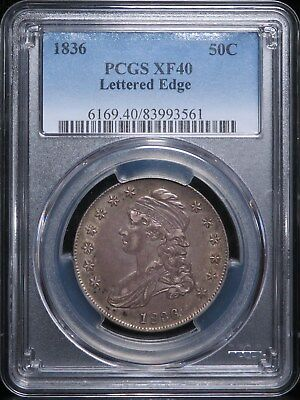 1836 Capped Bust Half Dollar Lettered Edge Silver 50C PCGS XF40
