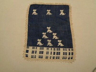 bomtage scottie hankie handkerchief hand tatted edge white dogs navy blue backgr
