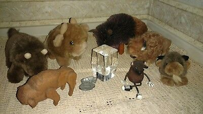 Unique Lot of 9 Bison/Buffalo Collectibles Wood, Straw, Pewter,Glass,Plush