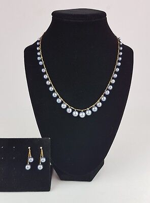 Vintage 14K Gold Chain Necklace & Graduated Black Pearl Necklace & Earrings Set